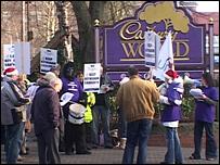 Protest outside Cadbury World