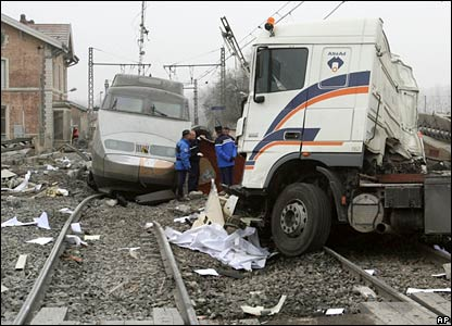 Police at the crash site in Tossiat, France
