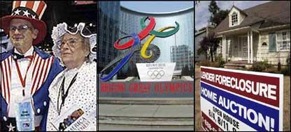 Electores estadounidenses y el logo de las olimpiadas del 2008