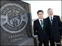 Hibs manager John Collins (left) and chairman Rod Petrie