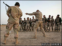 U.S. Navy SEALS train Iraqi army scouts  in Falluja, Iraq, July 2007