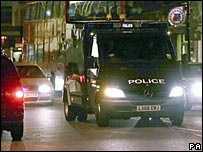A police van containing Omar Deghayes and Abdenour Samuer