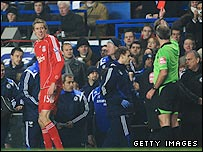Liverpool striker Peter Crouch is sent-off in his side's defeat at Chelsea