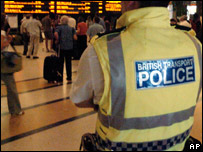 British Transport police officer at station