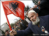 Kosovar Albanian at an independence rally, 10 December 2007