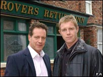 Coronation Street characters Harry Mason (left) and Dan Mason