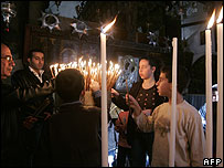Worshippers in the Church of the Nativity