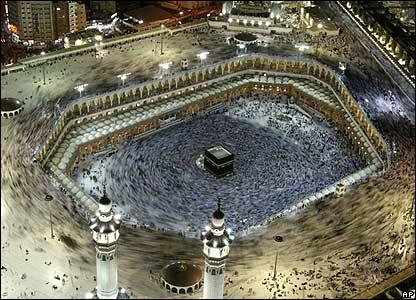 Pilgrims circling the Kaaba