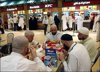 Pilgrims at a fast food restaurant in Mecca