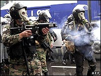 Riot police fire tear gas in Tbilisi, November 2007