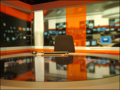 Empty chair in BBC tv studio, via the BBC website