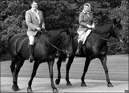 President Reagan and the Queen on horseback