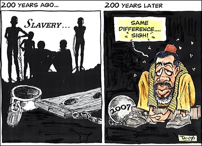 Slavery then and now cartoon by Tayo