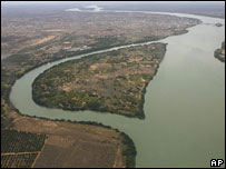 Aerial view of the Sao Francisco river at Sobradinho