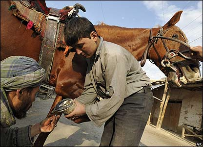 An Afghan blacksmith fixes a horseshoe