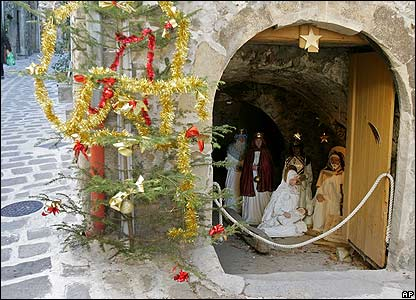 Crib on display in France, several hundred manger scenes depicting the Christian nativity annually displayed in the streets of the medieval mountain village, just north of Nice