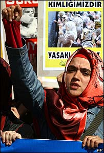 Protest in Istanbul against the headscarf ban in schools and universities (October 2007)