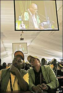 Delegates at the ANC conference listen to Jacob Zuma
