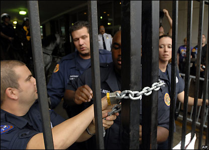 Police blocked dozens of protesters from entering the New Orleans City Hall - 20 December 2007