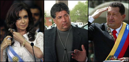 Cristina Fern�ndez,  Guido Alejandro Antonini, y Hugo Ch�vez