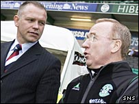 Falkirk head coach John Hughes with Hibs assistant Tommy Craig