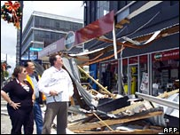 City officials inspect damage to buildings