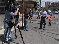 Filming on the streets of Baghdad