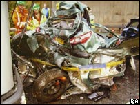 Wrecked car following car crash