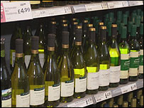 Alcohol on a supermarket shelf