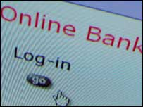 Online bank login screen, BBC