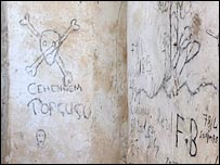 graffiti left by Turkish soldiers in the church in Elbeyendi
