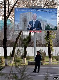 Poster of Islam Karimov in Tashkent (21 December 2007)