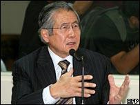 Alberto Fujimori in court on 21/12/2007