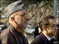 Hamid Karzai (left) with Nicolas Sarkozy ahead of their talks in Kabul - 22/12/07
