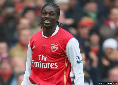 Emmanuel Adebayor after scoring