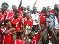 Sudan celebrate wining the 2007 Cecafa Cup