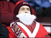 A Hearts fan looks for some festive cheer
