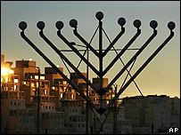 A candleabra used on the Jewish festival of hanuka in Har Homa