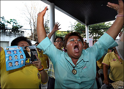 Democratic party supporters celebrate in Bangkok