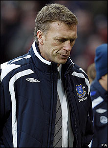 Everton boss David Moyes can't hide his disappointment