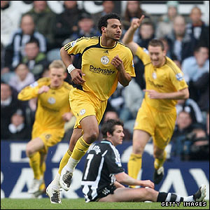 Giles Barnes celebrates giving Derby the lead