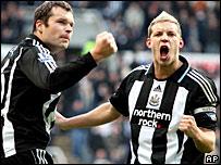Newcastle Mark Viduka and Alan Smith