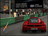 Anti-drink driving message in computer game
