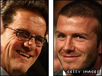 Fabio Capello (left) and David Beckham (right)