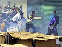 People feel tear gas in Nairobi on 24 December