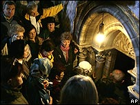 People queue to enter the Church of Nativity grotto