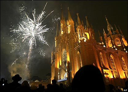 Fireworks by Catholic Church of the Immaculate Conception, Moscow
