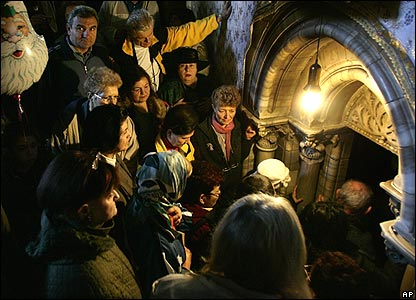 People queuing to enter the grotto at the Church of the Nativity, Bethlehem