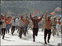 BJP supporters after the win in Gujarat