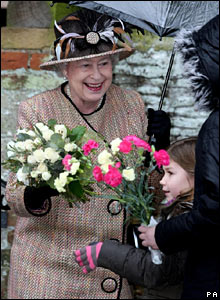 The Queen receiving flowers, Christmas Day 2007